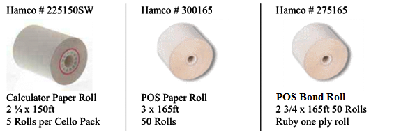 1 ply pos paper roll