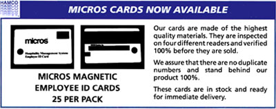 Micros Magnetic Employee ID Cards